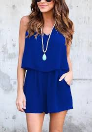 jumpsuit shorts sapphire blue 2 in 1 pockets slit sewing mid rise jumpsuit