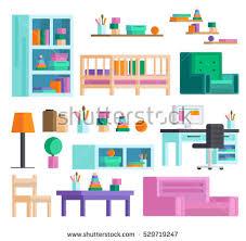 Children S Room Interior Images Set Furnitured Children S Room Bedroom Stock Vector 468547256