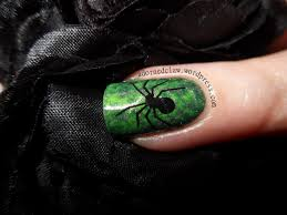 halloween spooky green spider nail art the adorned claw