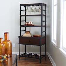 Wooden Bakers Rack Matte Black Painted Wrought Iron Bakers Rack With Varnished Dark