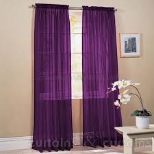 Purple Bedroom Curtains Slot Top Purple Voile Net Curtain Panel Home Ideas