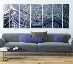 huge modern metal wall art painting home decor accent silver