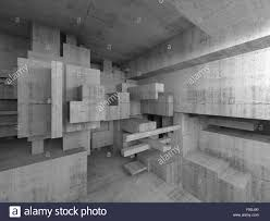 abstract concrete interior with chaotic cubes constructions stock