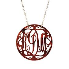 script monogram necklace moon and lola acrylic rimmed script monogram necklace