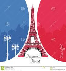 Paris Flag Eiffel Tower In Paris On France Flag Background Stock
