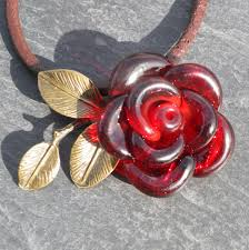 red rose necklace images Custom made valentines jewelry red rose necklace glass pendant jpg