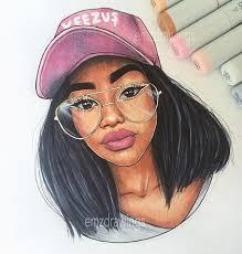 beautiful cartoon women art slicedcookie emz100k drawing pinterest drawings black