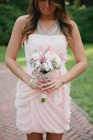 bridesmaid statement necklaces light pink dress blue necklace wedding wedding