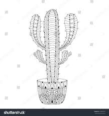 zentangle mexican cactus vector illustration hand stock vector