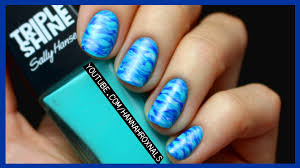 easy blue ocean nail art with just a brush youtube