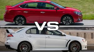 nissan sentra 2017 turbo 2017 nissan sentra sr turbo vs mitsubishi lancer evolution youtube