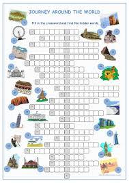 journey around the world crossword puzzle worksheet free esl