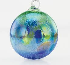 hydrangea blue opal glass ornament