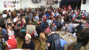 hundreds gather for 9th annual organic soup kitchen thanksgiving