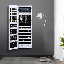 Lockable Medicine Cabinet Nz by White Ikayaa Lockable Hanging Jewelry Cabinet With Mirror Led