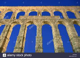 segovia spain roman aqueduct night stock photo royalty free