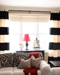 red and cream curtains family room traditional with black and