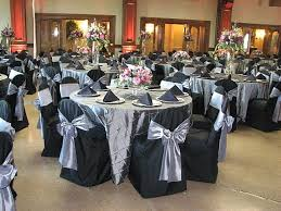 black banquet chair covers disposable silver and black wedding table cover steel bombay