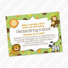 Winnie The Pooh Invitation Cards Please Bring A Book Instead Of A Card Jungle Safari Baby