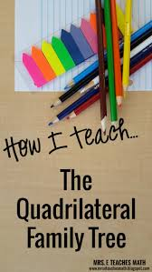 how i teach the quadrilateral family tree mrs e teaches math