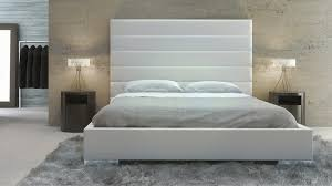 Leather Headboard Platform Bed Bedroom White Panel Tufted Leather Reina California King