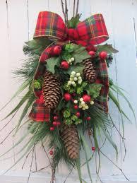 christmas door spray pine wreath holiday wreath winter