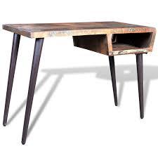 bureau bois acier bureau en bois recyclé avec pieds en acier interougehome
