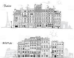 paris and rome houses sketch with travel landmarks in background