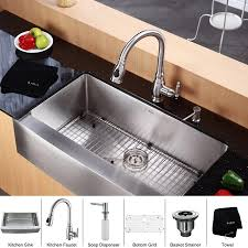 kitchen faucets with soap dispenser kraus 36 inch farmhouse single bowl stainless steel kitchen sink