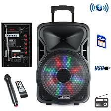 portable speaker with lights befree sound 12 inch bluetooth rechargeable party speaker with