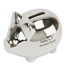 personalized silver piggy bank baby gifts silver plated personalized piggy banks