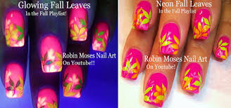 diy fall leaf nails easy pink autumn nail design tutorial youtube