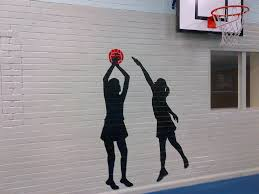 sports mural for school sports hall inspired spaces netball mural