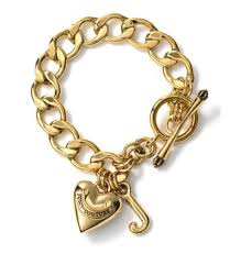 gold bracelet with heart charm images Juicy couture gold plated puffed heart starter charm bracelet png