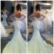 Long Sleeve Lace Wedding Dress Open Back Unique Design 2015 Newest White Chiffon And Lace Open Back