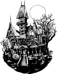 haunted house coloring page free clipart images clipartbarn