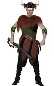 Viking Halloween Costume Barbarian Viking Thor Caveman Warrior Mens Halloween