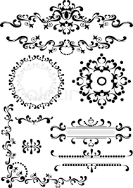 black ornament corner border frame on a white background graphic