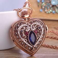 vintage necklace pendants images Love heart sapphire pocket watches for women sweater vintage jpg