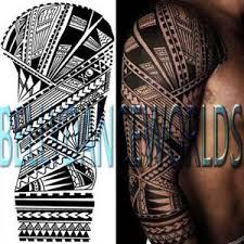 large tribal hawaiian polynesian arm sleeve temporary