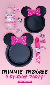 free printable minnie mouse ears plates pink baby pink