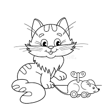 coloring outline cartoon cat toy clockwork mouse