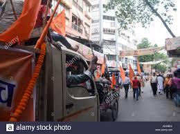 rally mini truck kolkata india 05th apr 2017 hindu drive holds the sword