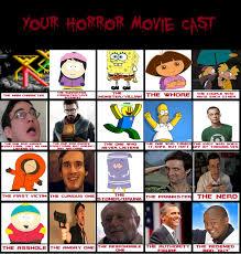 Horror Movie Memes - horror movie cast meme by eric6cartman on deviantart
