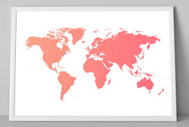 World Map Wall Decor by World Map Ombre Art Print Coral World Map Child Wall Decor