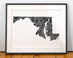map of maryland to print maryland map maryland print maryland typography map