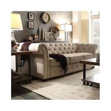 Vintage Tufted Sofa by Vintage Tufted Sofa Rolled Arm Couch Beige Linen Living Room