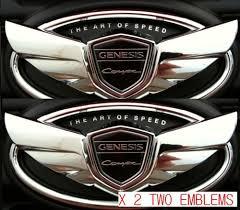 hyundai genesis coupe badge hyundai genesis coupe 2 0t turbo 3 8 v6 chrome wing emblem set