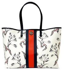 nautical tote burch new navy carryall purse floral coated canvas tote tradesy
