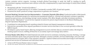 personal banker resume objective customer service specialist